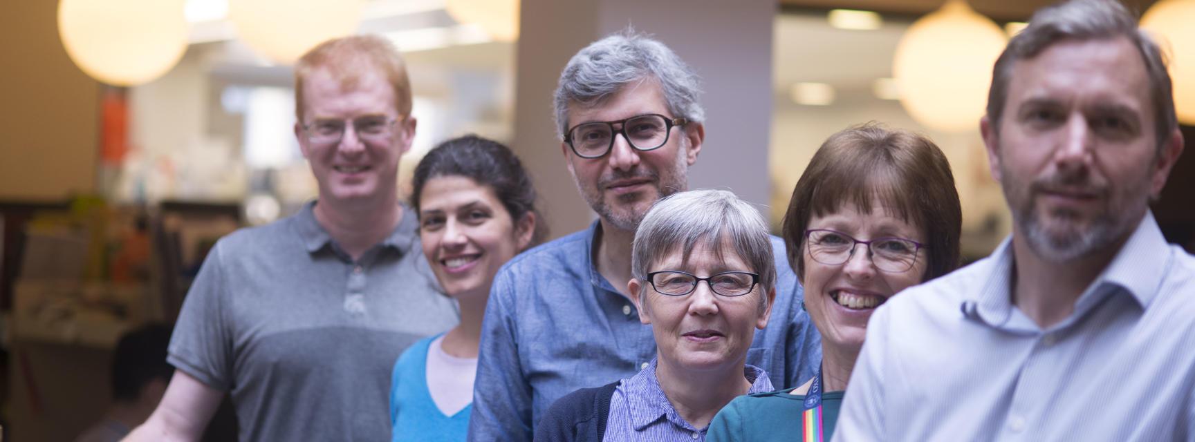 L-R: Matt Higgins, Elena Seiradake, Petros Ligoxygakis, Cathy Pears, Rita Emberton and Jason Schnell