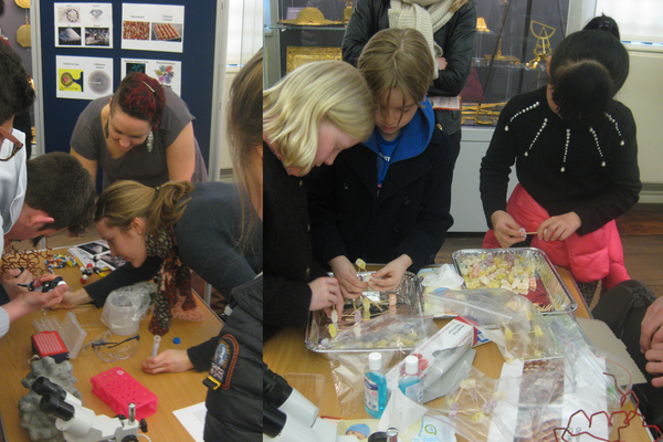 Left: Helena Taberman making crystals with A-level students. Right: Michael Jacobsen helps with the construction of crystal lattices at the Yellow Magic event on 18th March. Photographs courtesy of the Museum of History of Science